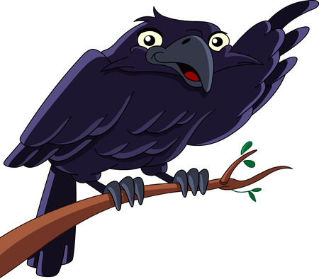 illustration of a raven sitting on a branch and pointing with his wing Vector