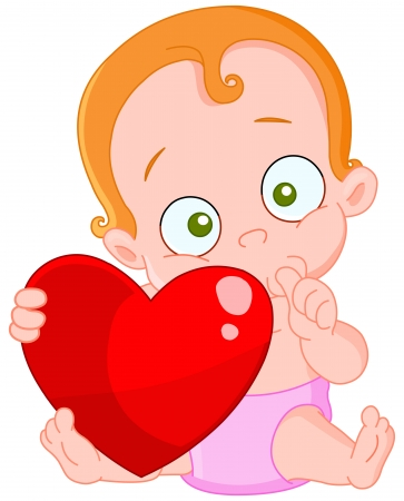 Cute Baby girl with red hair holding a heart Vector
