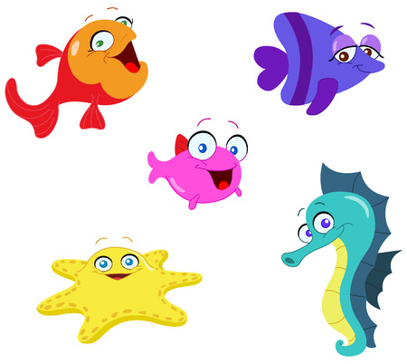 Cute cartoon sea creatures Stock Vector - 6653044
