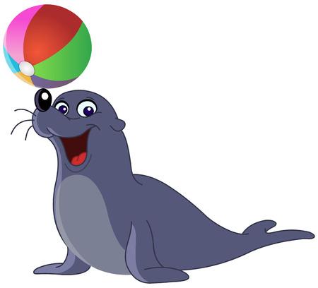 pelota caricatura: Sello feliz con una bola de color  Vectores
