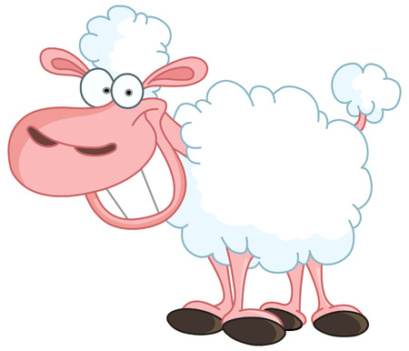the sweet tooth: Funny sheep with big smile Illustration
