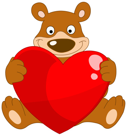 Smiley bear holding a heart Vector