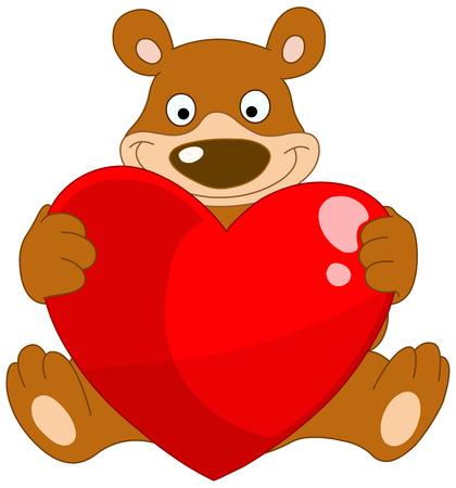 valentine s day teddy bear: Smiley bear holding a heart