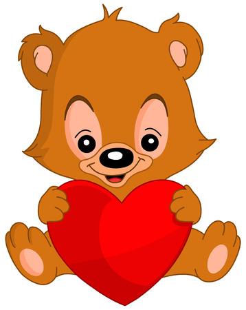 Cute valentine's teddy bear holding a big heart Stock Vector - 6653017