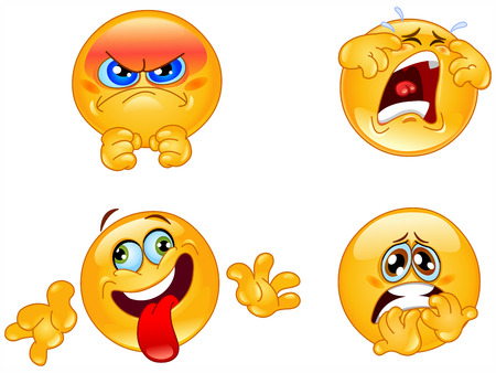 angry cartoon: Set of smileys Illustration
