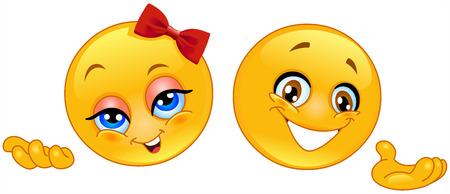smiles: Adorables pr�sentateur smileys  Illustration