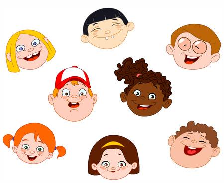 Kids faces set Vector