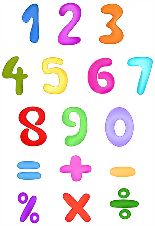 Colorful numbers set Vector