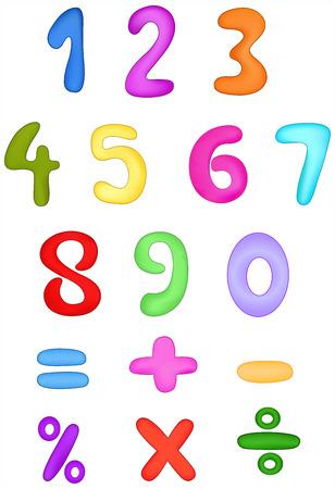 adding: Colorful numbers set Illustration