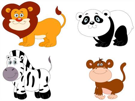Illustration Set of cute animals: lion, panda, zebra and monkey Stock Vector - 6783302