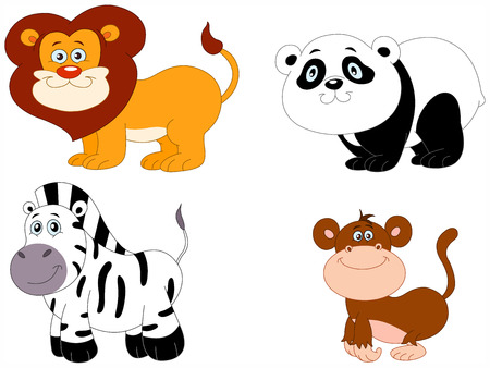 Illustration Set of cute animals: lion, panda, zebra and monkey Stock Vector - 6783302