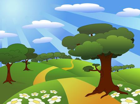 beaux paysages: Paysage magnifique pr� Illustration