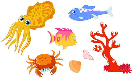 Cute cartoon sea creatures and seashell set Vector