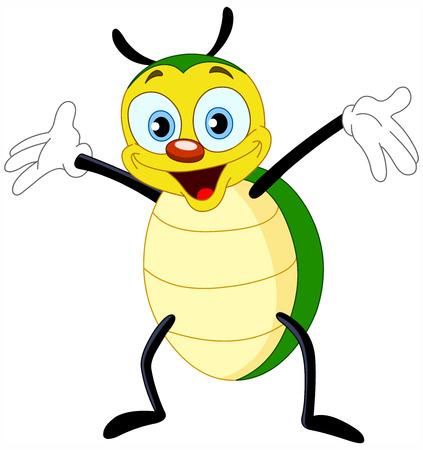 Cute escarabajo feliz  Ilustración de vector