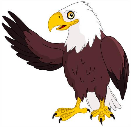 ファルコン: アメリカの禿げたワシを提示します。  イラスト・ベクター素材