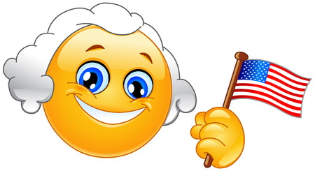 president of the usa: George Washington emoticon holding a flag of USA