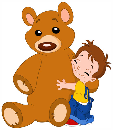grande e piccolo: Ragazzo carino abbraccia la sua grande teddy bear