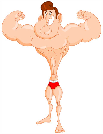 Cartoon bodybuilder Vector