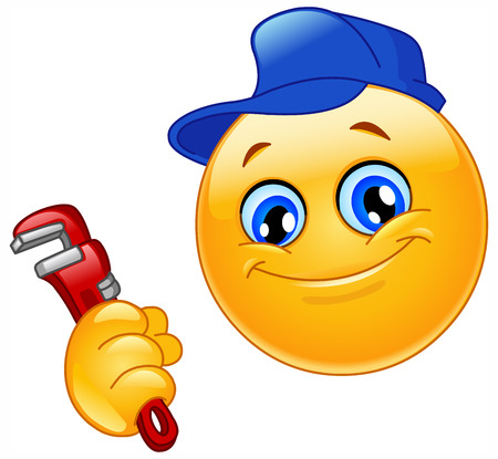 happy emoticon: Repairman emoticon Illustration