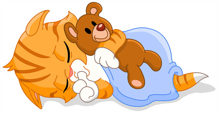 Cute sleeping kitten hugging his teddy bear Vector
