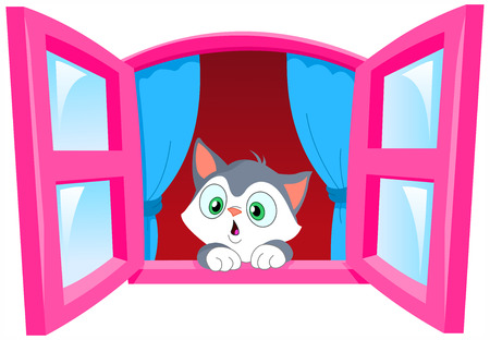 Curious kitten staring out the window Stock Vector - 7034099