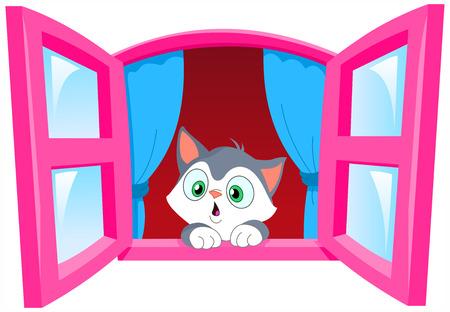 kitties: Curious kitten staring out the window Illustration