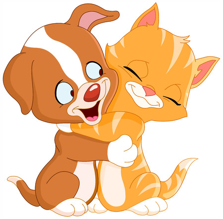 Cute puppy and kitten hugging each other Stock Vector - 7034103