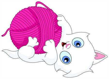 Kitten spelen met een bal van wol Vector Illustratie