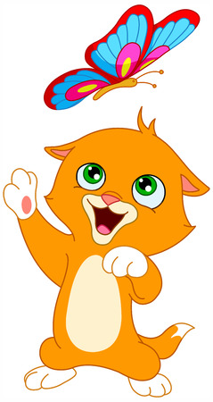 juniors: Cute kitten playing with a butterfly