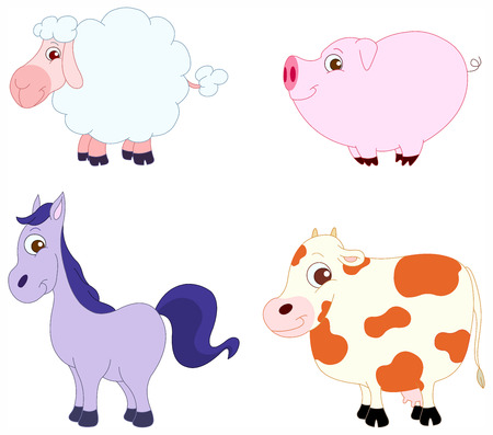 Illustration Set of cute farm animals: sheep, pig, horse and cow Stock Vector - 7070553