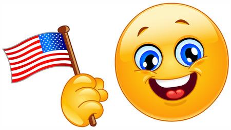 celebration smiley: Patriot emoticon celebrating 4th in July
