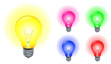 Vector set of colorful light bulbs Vector