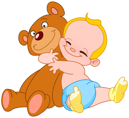 toddler playing: Cheerful baby hugging his teddy bear Illustration