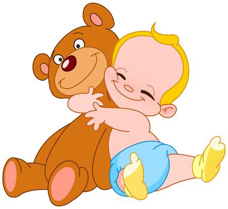 teddy: Lebenslustig Baby umarmt seine Teddyb�r  Illustration