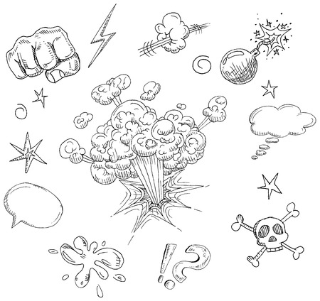 dinamita: elementos c�micos de dibujado a mano