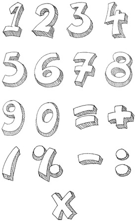 digit 3: Hand drawn numbers Illustration