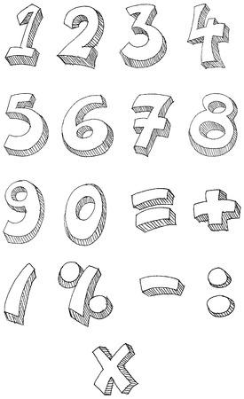 cijfer vier: Hand getrokken nummers