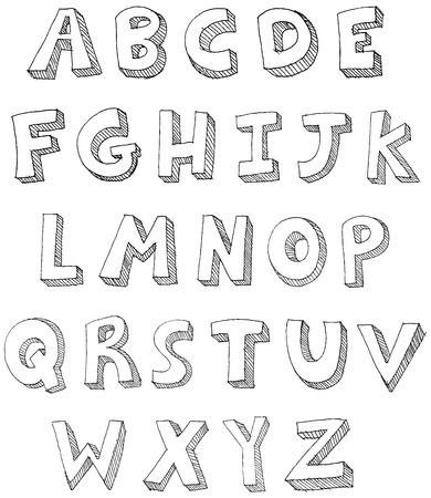 vieze handen: Hand getrokken ABC letters