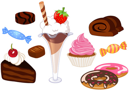 milk and cookies: Desserts and sweets set