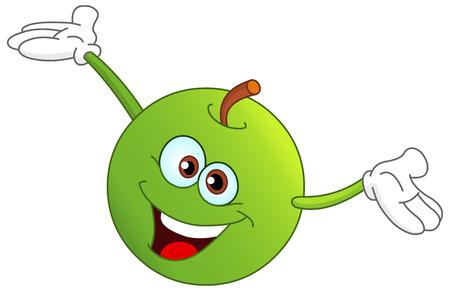 manzana caricatura: Manzana de dibujos animados cute elevar sus manos
