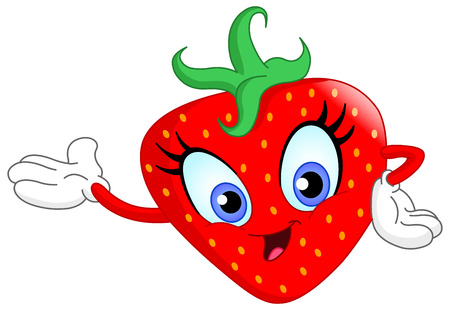 Cute cartoon strawberry presenting with her hand Vector