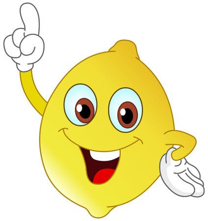 Cartoon lemon pointing with his finger
