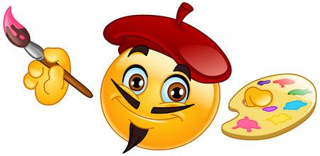 Pittore emoticon detiene un pennello e della tavolozza Vettoriali
