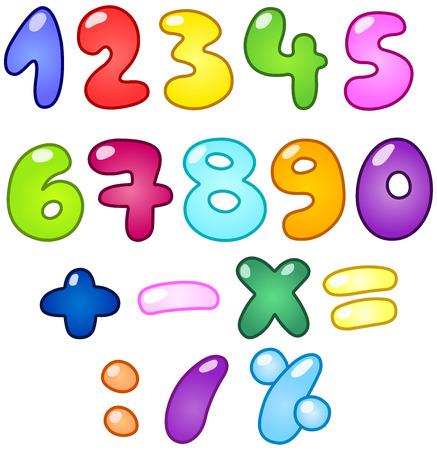 nombres: Ensemble des num�ros color�es en forme de bulle