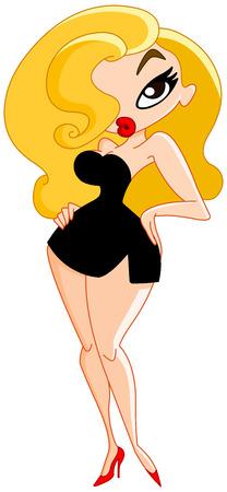 Sexy cartoon woman wearing black little dress Vector
