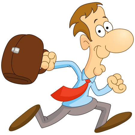 running businessman: Cartoon businessman running