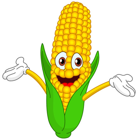 corn: Cheerful cartoon corn raising his hands