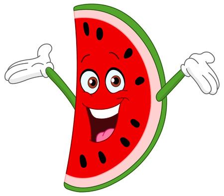 melons: Cartoon watermelon slice raising his hands Illustration