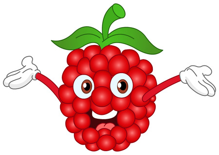 Cartoon raspberry raising his hands