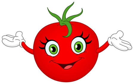 cartoon tomato: Cheerful cartoon tomato raising her hands